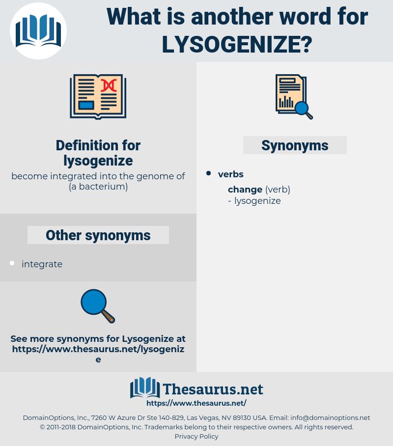 lysogenize, synonym lysogenize, another word for lysogenize, words like lysogenize, thesaurus lysogenize
