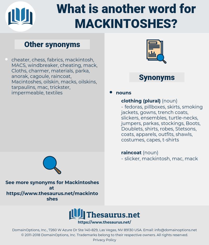 mackintoshes, synonym mackintoshes, another word for mackintoshes, words like mackintoshes, thesaurus mackintoshes