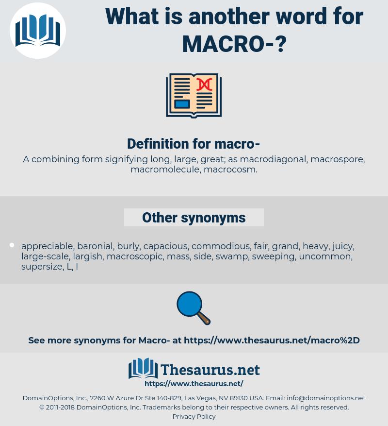 macro, synonym macro, another word for macro, words like macro, thesaurus macro
