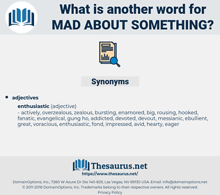 mad about something, synonym mad about something, another word for mad about something, words like mad about something, thesaurus mad about something