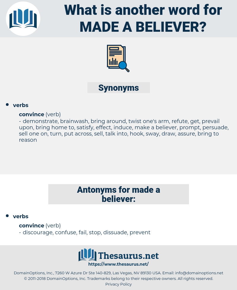 made a believer, synonym made a believer, another word for made a believer, words like made a believer, thesaurus made a believer