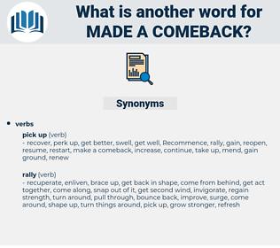 made a comeback, synonym made a comeback, another word for made a comeback, words like made a comeback, thesaurus made a comeback