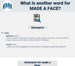 made a face, synonym made a face, another word for made a face, words like made a face, thesaurus made a face