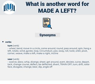made a left, synonym made a left, another word for made a left, words like made a left, thesaurus made a left