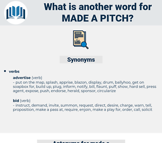 made a pitch, synonym made a pitch, another word for made a pitch, words like made a pitch, thesaurus made a pitch