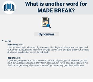 made break, synonym made break, another word for made break, words like made break, thesaurus made break
