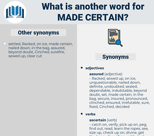 made certain, synonym made certain, another word for made certain, words like made certain, thesaurus made certain