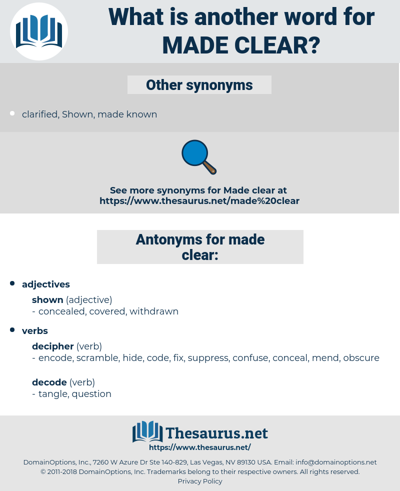 made clear, synonym made clear, another word for made clear, words like made clear, thesaurus made clear