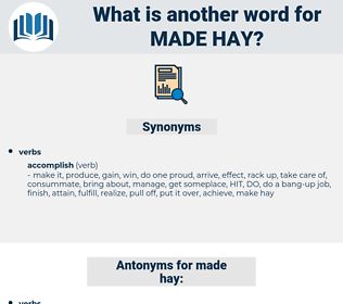 made hay, synonym made hay, another word for made hay, words like made hay, thesaurus made hay