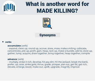 made killing, synonym made killing, another word for made killing, words like made killing, thesaurus made killing