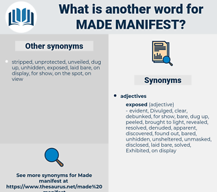 made manifest, synonym made manifest, another word for made manifest, words like made manifest, thesaurus made manifest