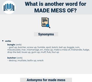 made mess of, synonym made mess of, another word for made mess of, words like made mess of, thesaurus made mess of