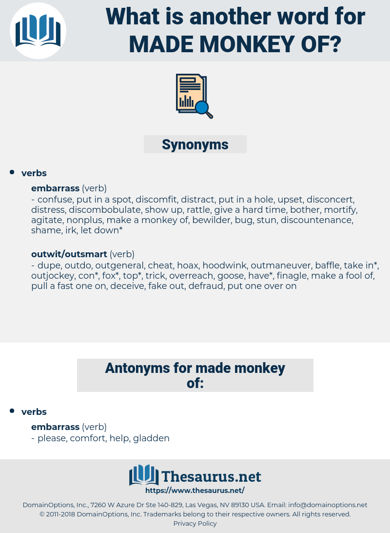 made monkey of, synonym made monkey of, another word for made monkey of, words like made monkey of, thesaurus made monkey of