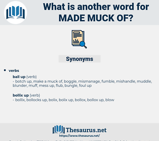 made muck of, synonym made muck of, another word for made muck of, words like made muck of, thesaurus made muck of