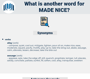 made nice, synonym made nice, another word for made nice, words like made nice, thesaurus made nice