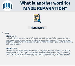 made reparation, synonym made reparation, another word for made reparation, words like made reparation, thesaurus made reparation