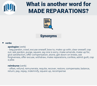 made reparations, synonym made reparations, another word for made reparations, words like made reparations, thesaurus made reparations