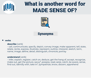 made sense of, synonym made sense of, another word for made sense of, words like made sense of, thesaurus made sense of