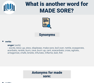 made sore, synonym made sore, another word for made sore, words like made sore, thesaurus made sore