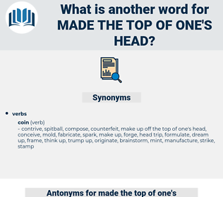 made the top of one's head, synonym made the top of one's head, another word for made the top of one's head, words like made the top of one's head, thesaurus made the top of one's head