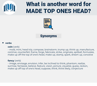 made top ones head, synonym made top ones head, another word for made top ones head, words like made top ones head, thesaurus made top ones head