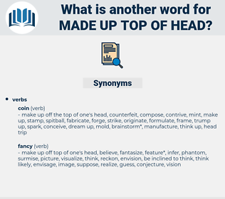 made up top of head, synonym made up top of head, another word for made up top of head, words like made up top of head, thesaurus made up top of head
