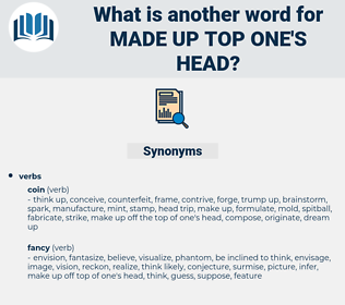 made up top one's head, synonym made up top one's head, another word for made up top one's head, words like made up top one's head, thesaurus made up top one's head