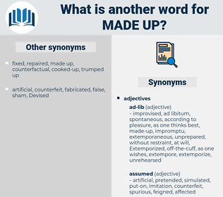 made-up, synonym made-up, another word for made-up, words like made-up, thesaurus made-up
