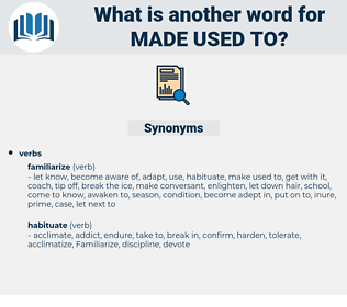 made used to, synonym made used to, another word for made used to, words like made used to, thesaurus made used to