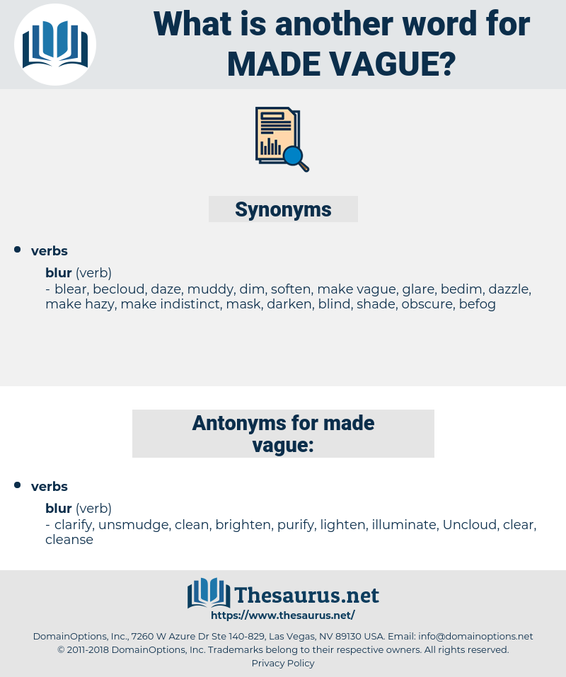 made vague, synonym made vague, another word for made vague, words like made vague, thesaurus made vague