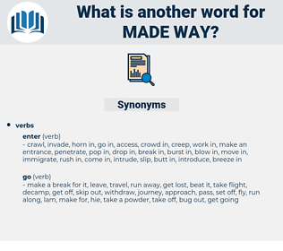 made way, synonym made way, another word for made way, words like made way, thesaurus made way