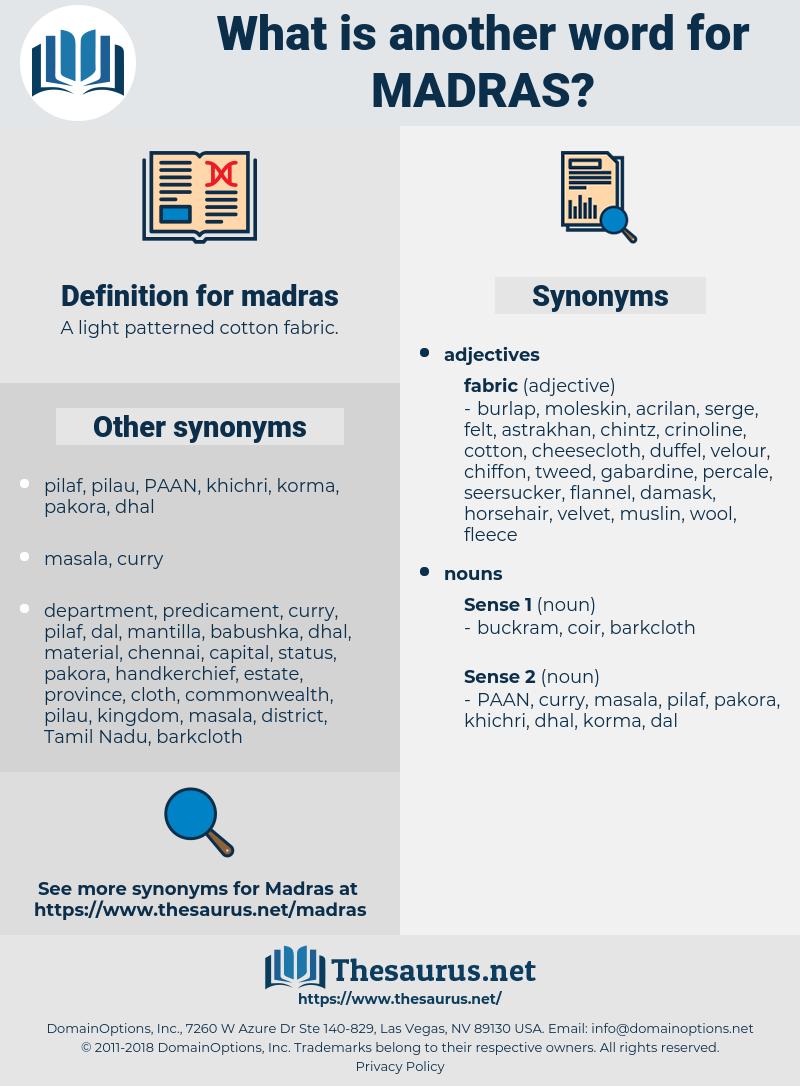 madras, synonym madras, another word for madras, words like madras, thesaurus madras
