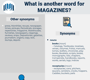 Magazines, synonym Magazines, another word for Magazines, words like Magazines, thesaurus Magazines