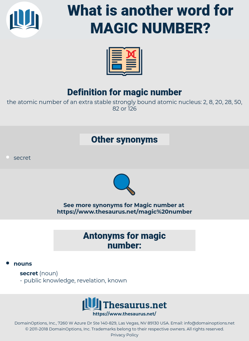 magic number, synonym magic number, another word for magic number, words like magic number, thesaurus magic number