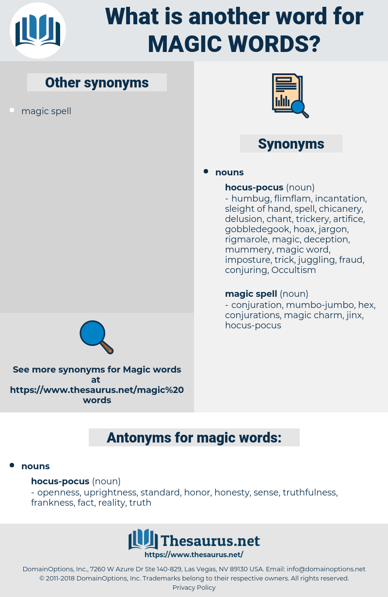 magic words, synonym magic words, another word for magic words, words like magic words, thesaurus magic words