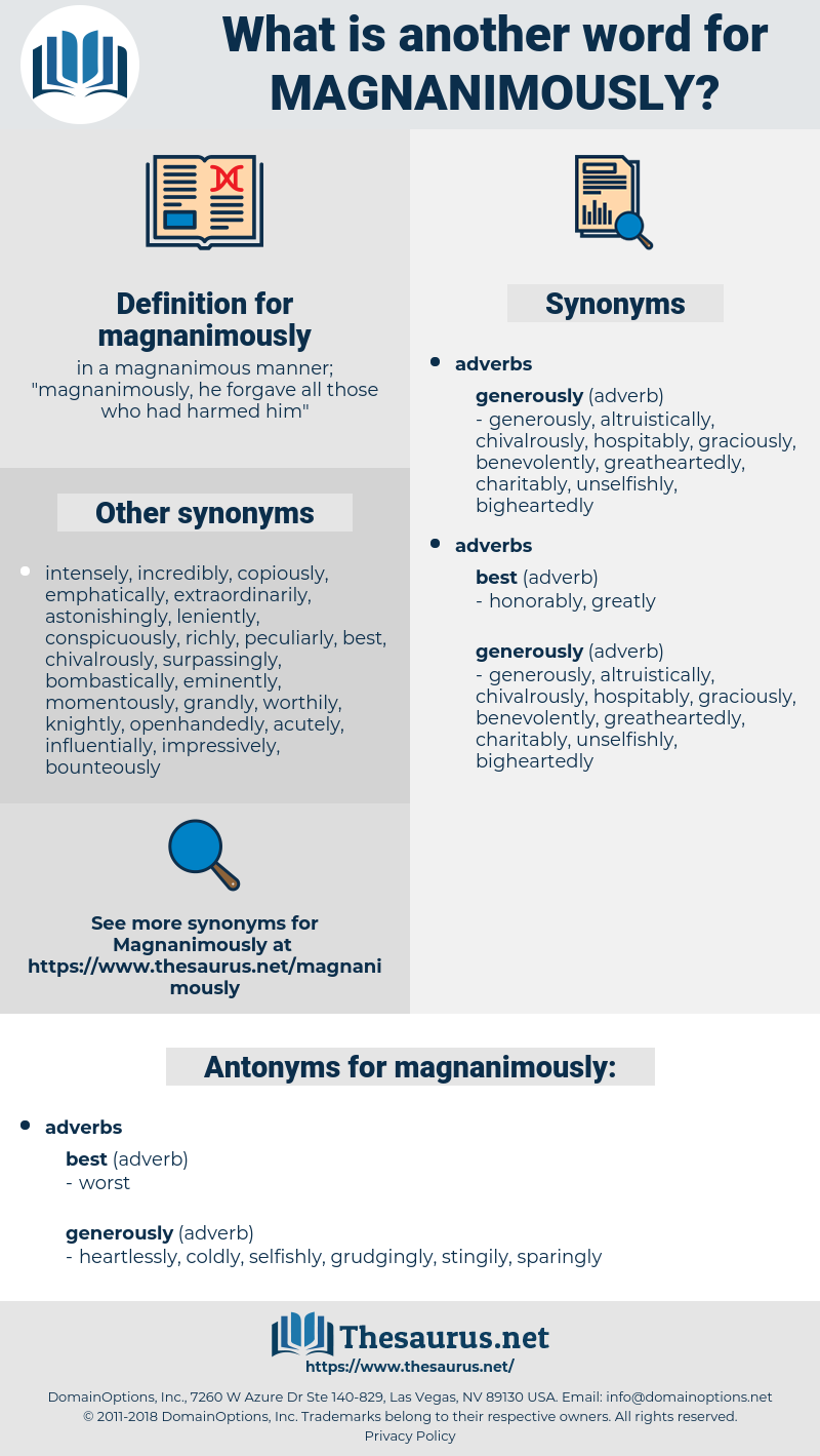 magnanimously, synonym magnanimously, another word for magnanimously, words like magnanimously, thesaurus magnanimously
