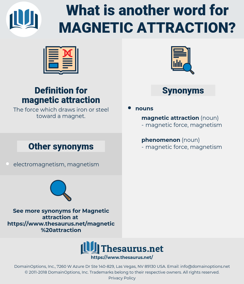 magnetic attraction, synonym magnetic attraction, another word for magnetic attraction, words like magnetic attraction, thesaurus magnetic attraction