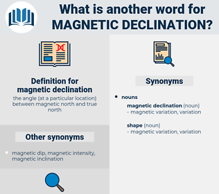 magnetic declination, synonym magnetic declination, another word for magnetic declination, words like magnetic declination, thesaurus magnetic declination