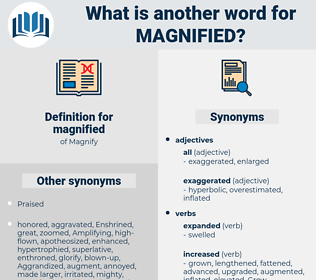 magnified, synonym magnified, another word for magnified, words like magnified, thesaurus magnified