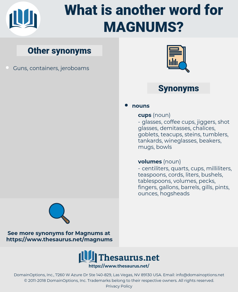 magnums, synonym magnums, another word for magnums, words like magnums, thesaurus magnums