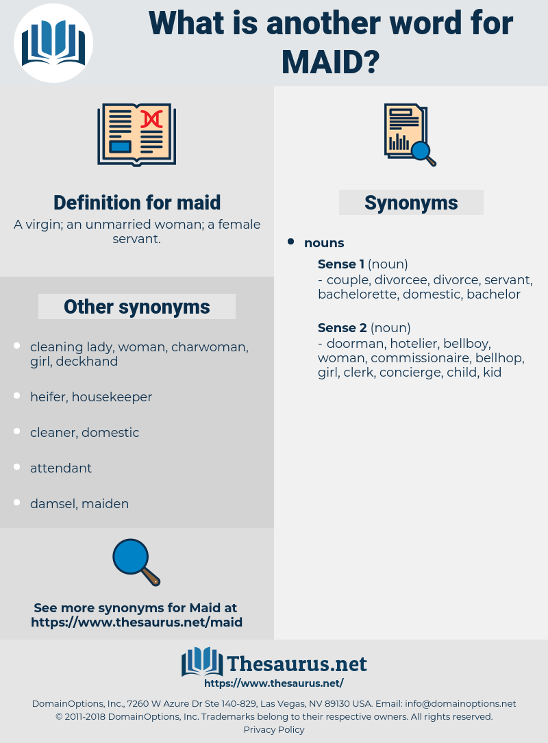 maid, synonym maid, another word for maid, words like maid, thesaurus maid