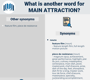 main attraction, synonym main attraction, another word for main attraction, words like main attraction, thesaurus main attraction