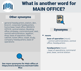 main office, synonym main office, another word for main office, words like main office, thesaurus main office