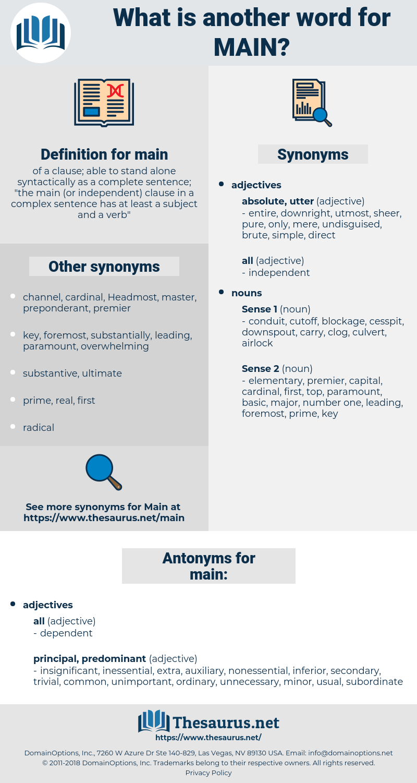 main, synonym main, another word for main, words like main, thesaurus main