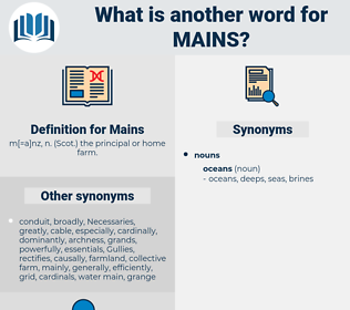 Mains, synonym Mains, another word for Mains, words like Mains, thesaurus Mains