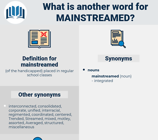 mainstreamed, synonym mainstreamed, another word for mainstreamed, words like mainstreamed, thesaurus mainstreamed