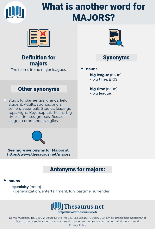majors, synonym majors, another word for majors, words like majors, thesaurus majors