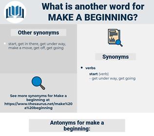 make a beginning, synonym make a beginning, another word for make a beginning, words like make a beginning, thesaurus make a beginning