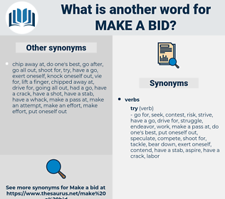 make a bid, synonym make a bid, another word for make a bid, words like make a bid, thesaurus make a bid