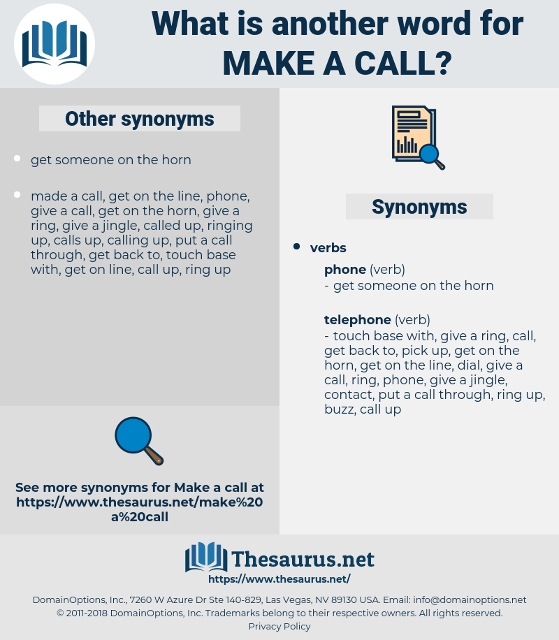 make a call, synonym make a call, another word for make a call, words like make a call, thesaurus make a call